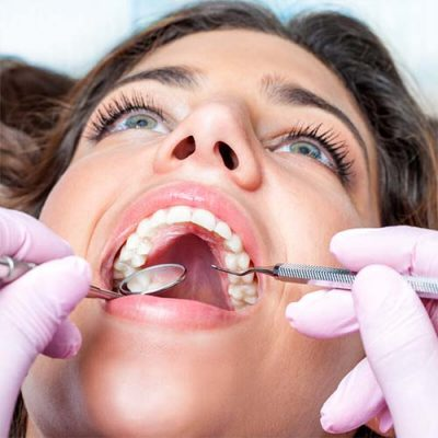 Woman having a dental check up at the dentist